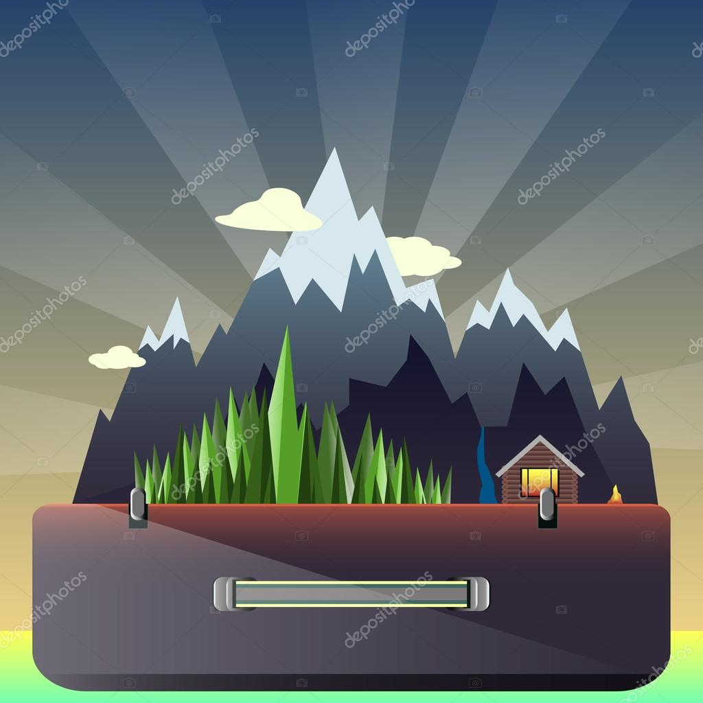 mountain forest and hunting lodge in the suitcase on the background of the dawn