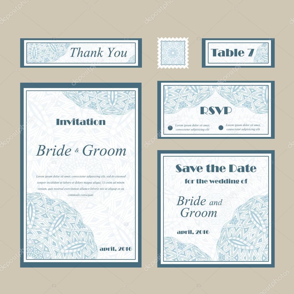 plantilla de vector de tarjetas para boda set de invitaciones para