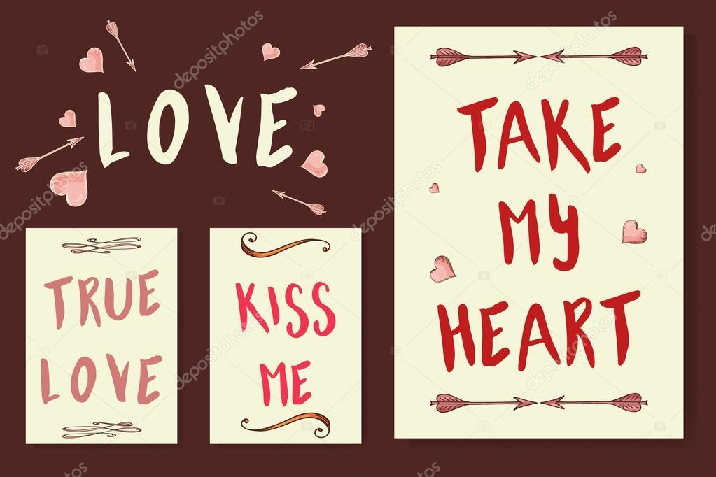 Vectores Frases Bonitas Tarjetas De Amor Coleccion De Vectores