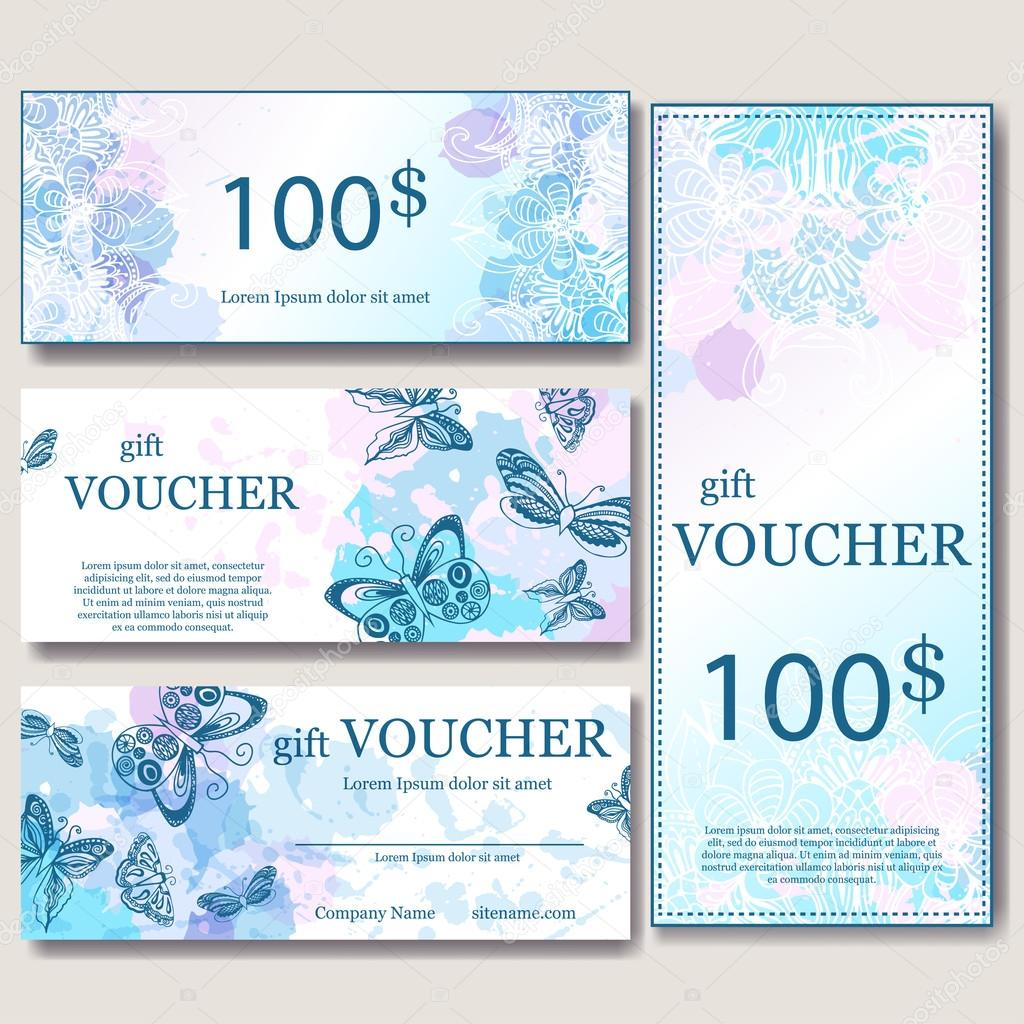 Gift Voucher Template With Mandala. Design Certificate For Sport Center,  Magazine Or Etc.