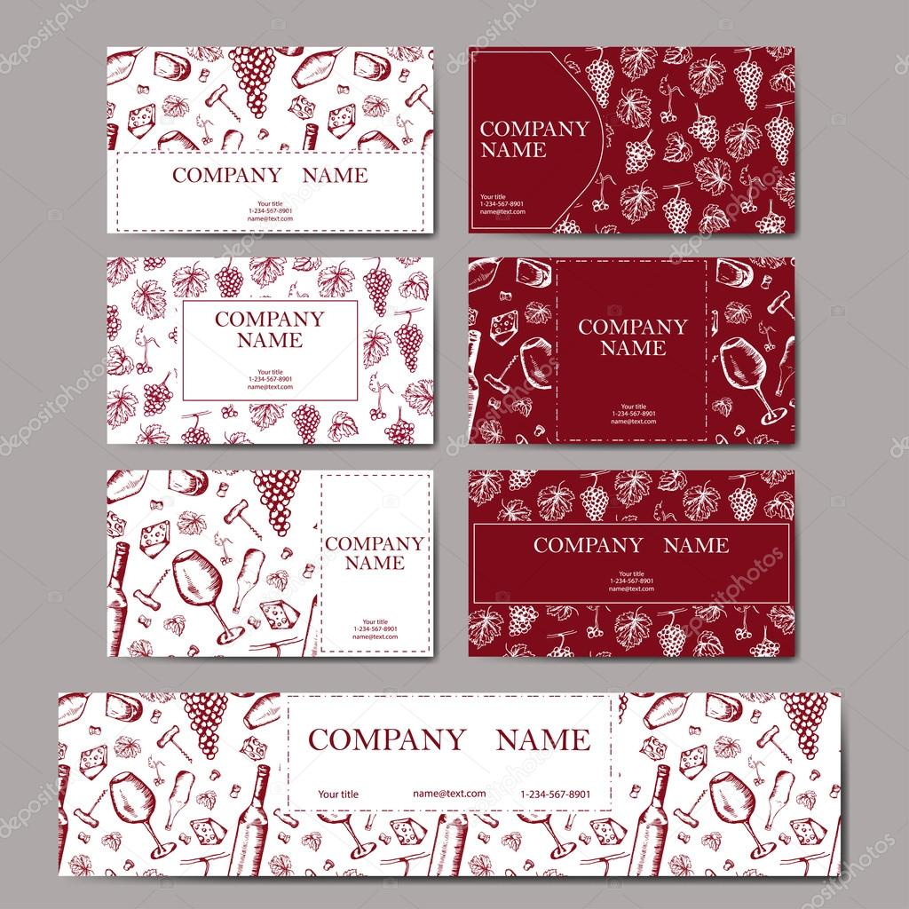 Set of business cards. Wine company. Restaurant red theme. Vector ...