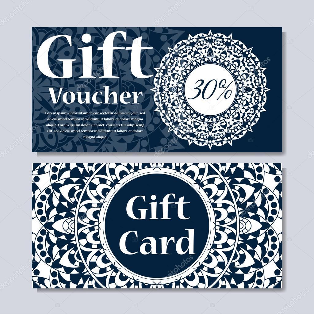 Geschenkgutschein-Vorlage mit Mandala. Design-Zertifikat für den ...
