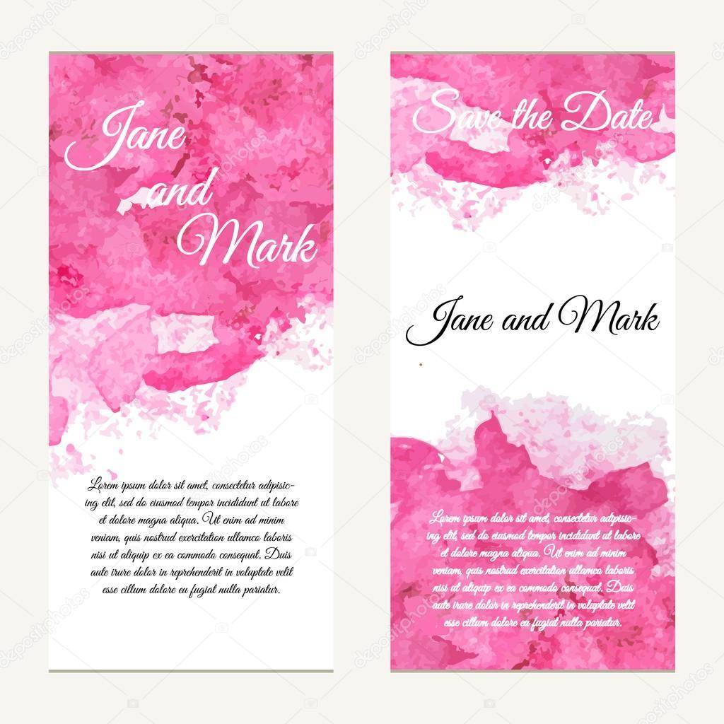 Carte d'invitation pour mariage, anniversaire. Fond avec aquarelle — Image vectorielle ...