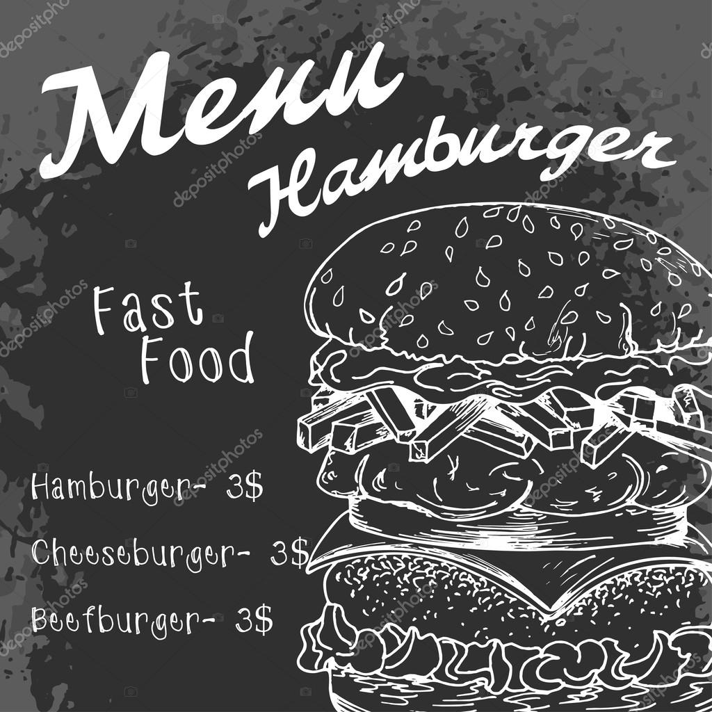 Fast food poster with hamburger. Hand draw retro illustration. V