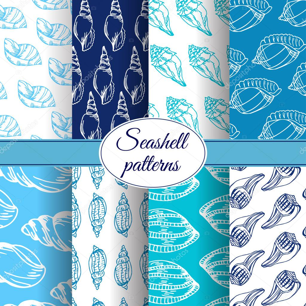 Set of vector sea patterns. Summer background with shell elements. Repeating print background texture.