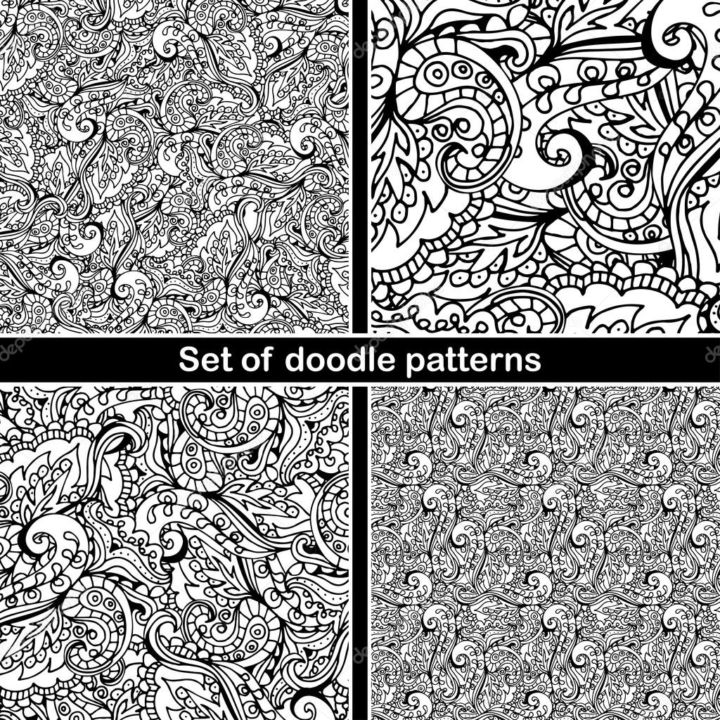 Set of hand drawn doodle pattern in vector  Zentangle