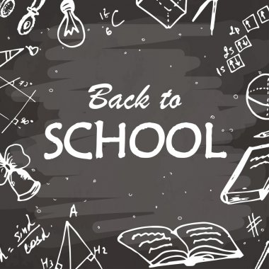Back to school typographical background. Freehand drawing icon elements on chalkboard. Sketch vector illustration.