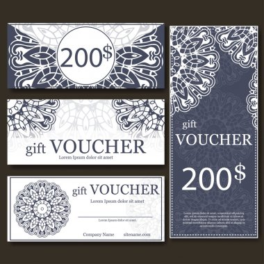 Gift voucher template with mandala. Design certificate for sport center, magazine or etc. Vector gift coupon with ornament on background.