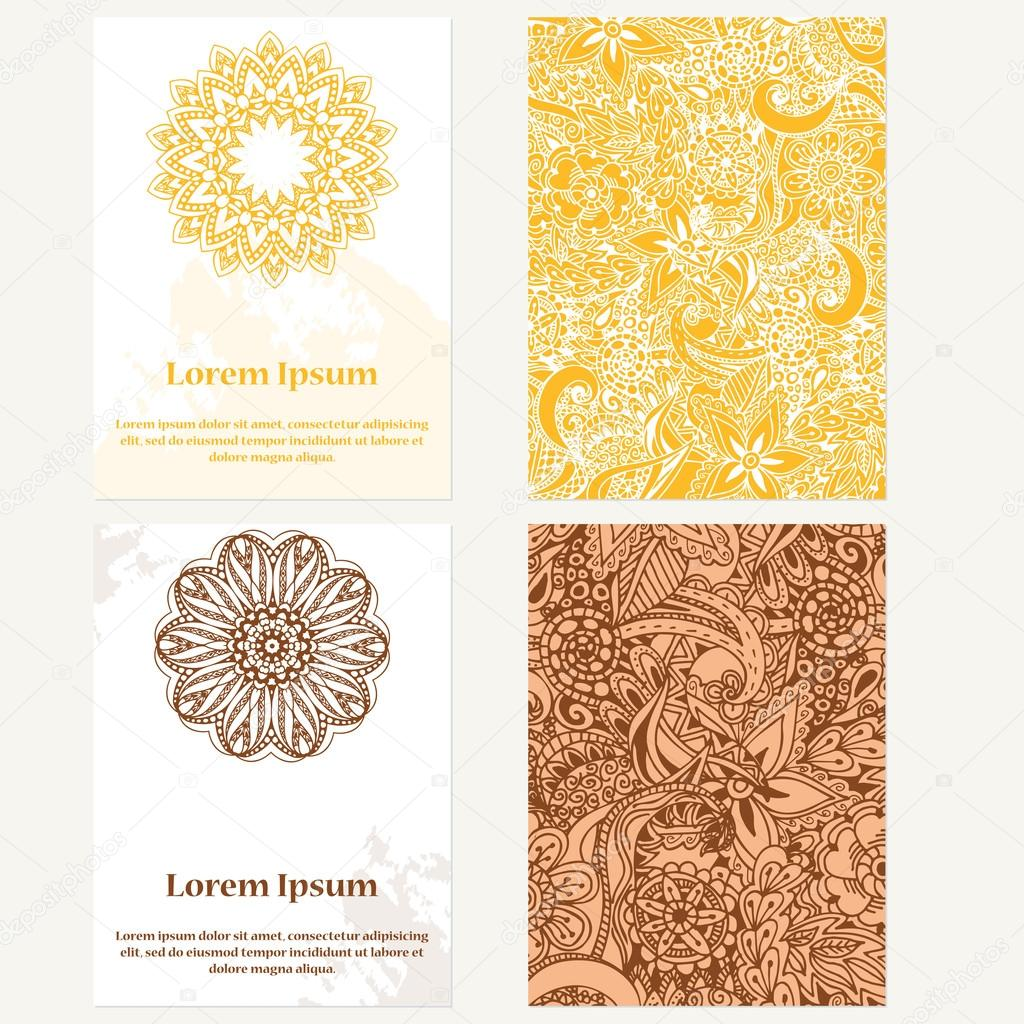 Set of design vertical template brochures hand drawn background set of design vertical template brochures hand drawn background with mandala can be used for yoga studio invitation card or poster stopboris Gallery