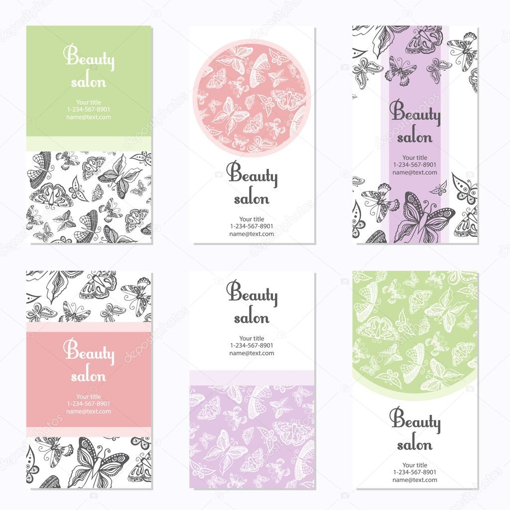 Set of beauty salon business cards with butterfly card template can set of beauty salon business cards with butterfly card template can be used for spa reheart Image collections