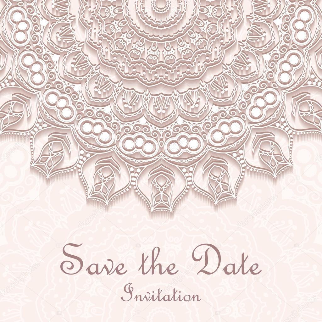 Invitation card on wedding birthday background with mandala invitation card on wedding birthday background with mandala vetores de stock stopboris Images