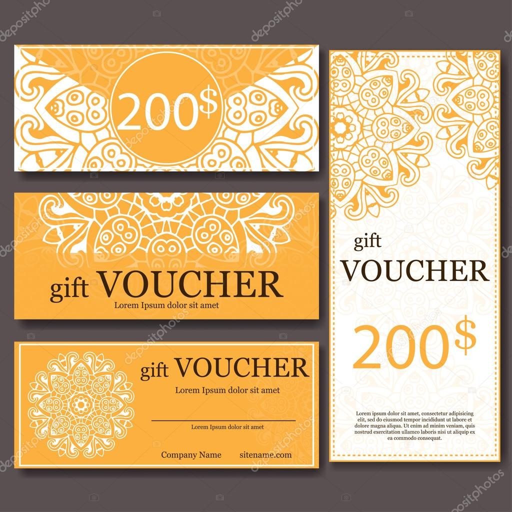 Gift voucher template with mandala Design certificate for sport – Gift Coupon Template