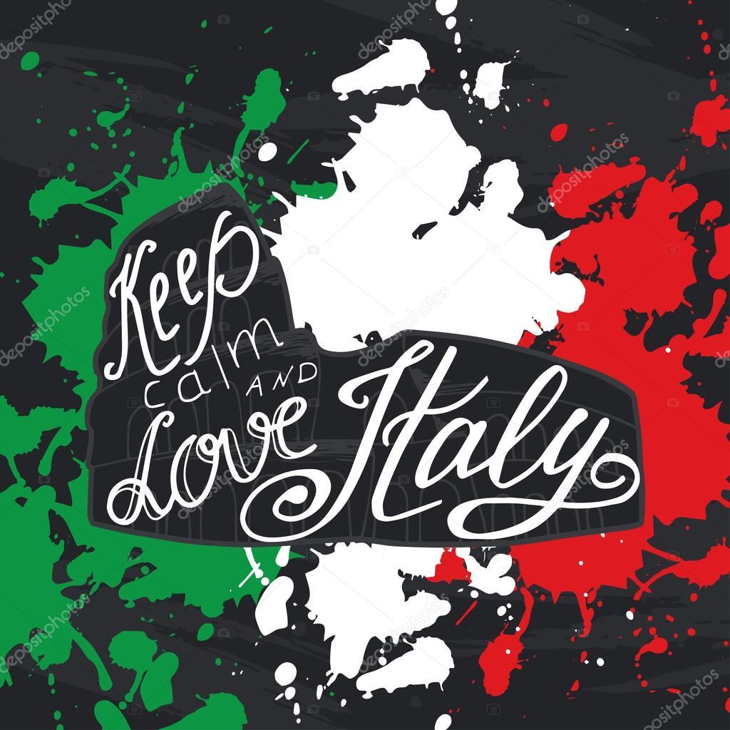 Vektor-Illustration mit dem Satz Ruhe bewahren und die Liebe Italien ...