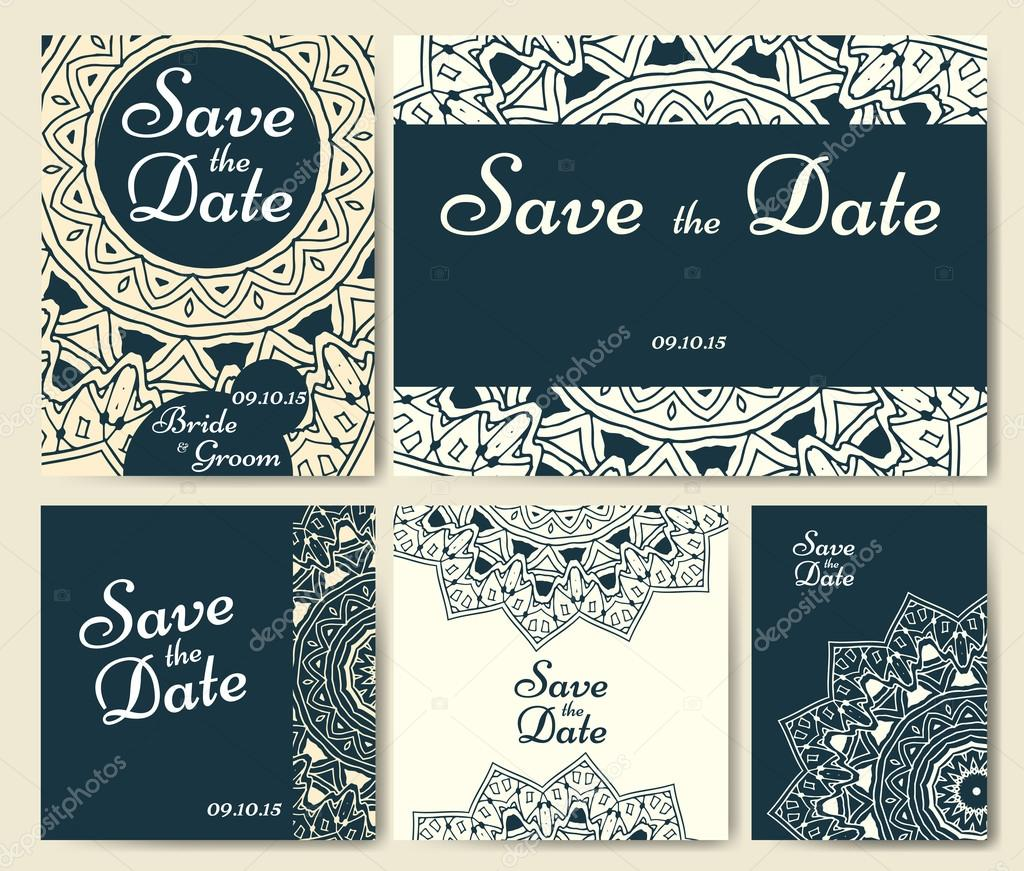 Satz von Hochzeitseinladungen. Hochzeit Karten Vorlage mit ...