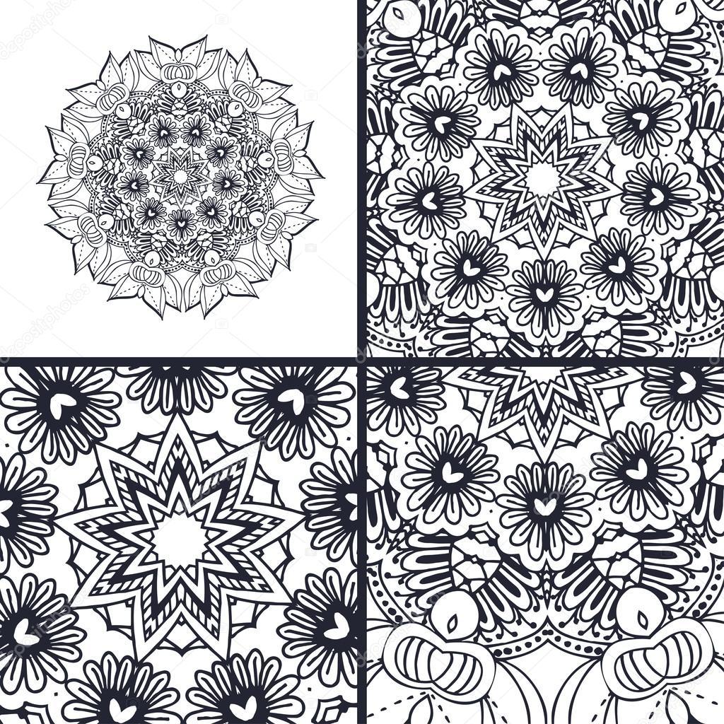 Vector abstract Malvorlagen mit Mandala. Islam, Arabisch, Türkisch ...