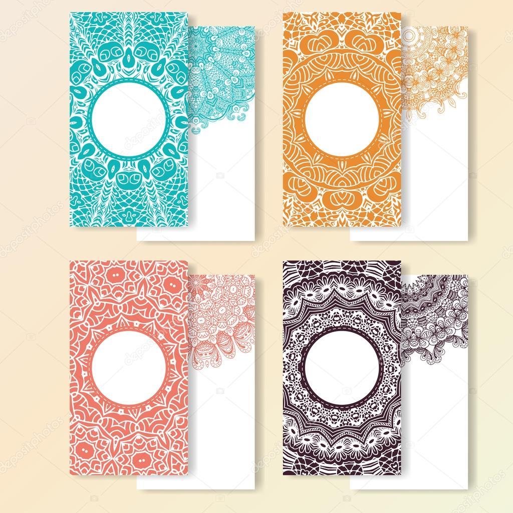 Satz von Karten. Kunstvolle Gestaltung kann für Einladung, Gruß oder ...