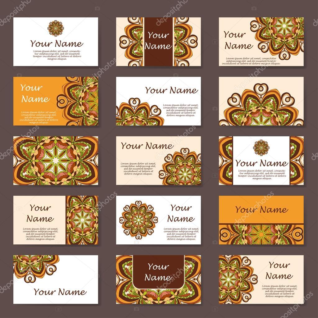 Collection De Cartes Visite Ornement Pour Votre Conception Avec Mandala Dentelle Fond Vecteur Motifs LIslam Arabe Indien Illustration