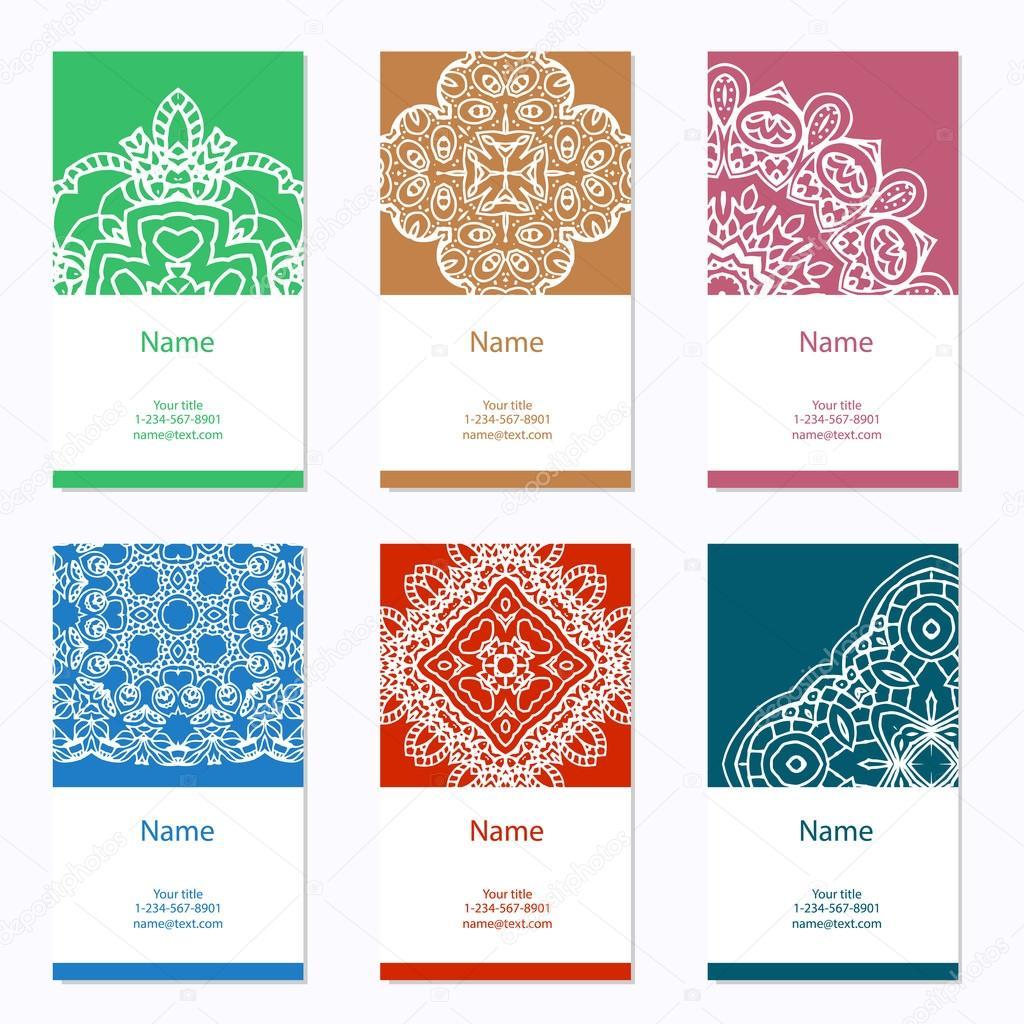 Collection De Cartes Visite Ornement Pour Votre Conception Avec Mandala Dentelle Fond
