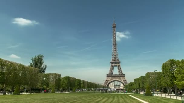 A timelapse of the Eiffel tower in Paris, France, seen from Champs de Mars