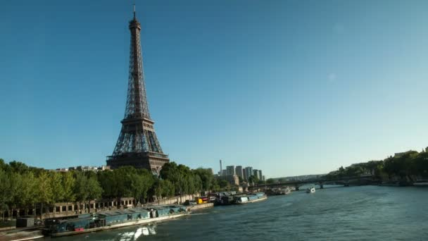 Timelapse of the Eiffel tower and the river Seine with boats, Paris, France