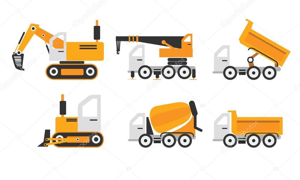 Maquinaria de construcción conjunto color amarillo — Archivo ...
