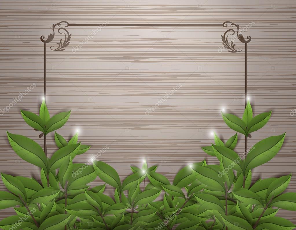 Blätter auf Holz mit Vektor-Rahmenkonstruktion — Stockvektor ...