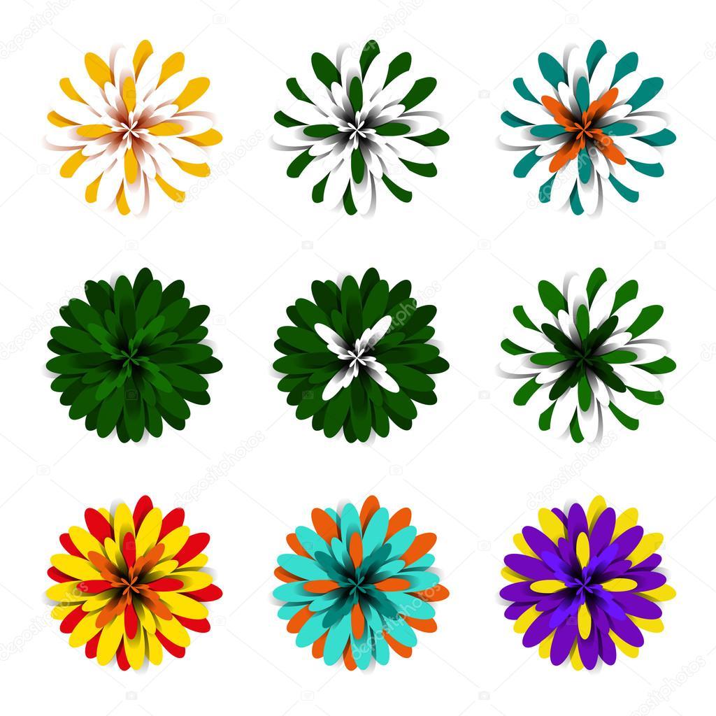 blumen aus pompons, helle flauschigen volumetrische floralen elementen mit bunten, Design ideen