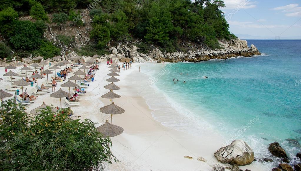 Marble Beach Saliara Beach Thassos Island Greece Stock