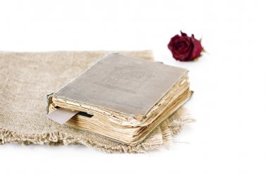 Old book and dead rose isolated on the white background