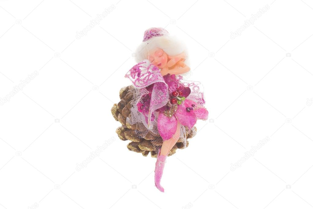 Kis karácsonyi tündér szőke haj és a ruha rózsaszín — Stock Fotó ... e41651ef5e