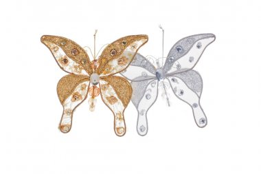 Golden and silver butterflies for christmas tree