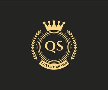 calligraphic feminine floral hand drawn heraldic monogram antique vintage style luxury logo design Premium Vector