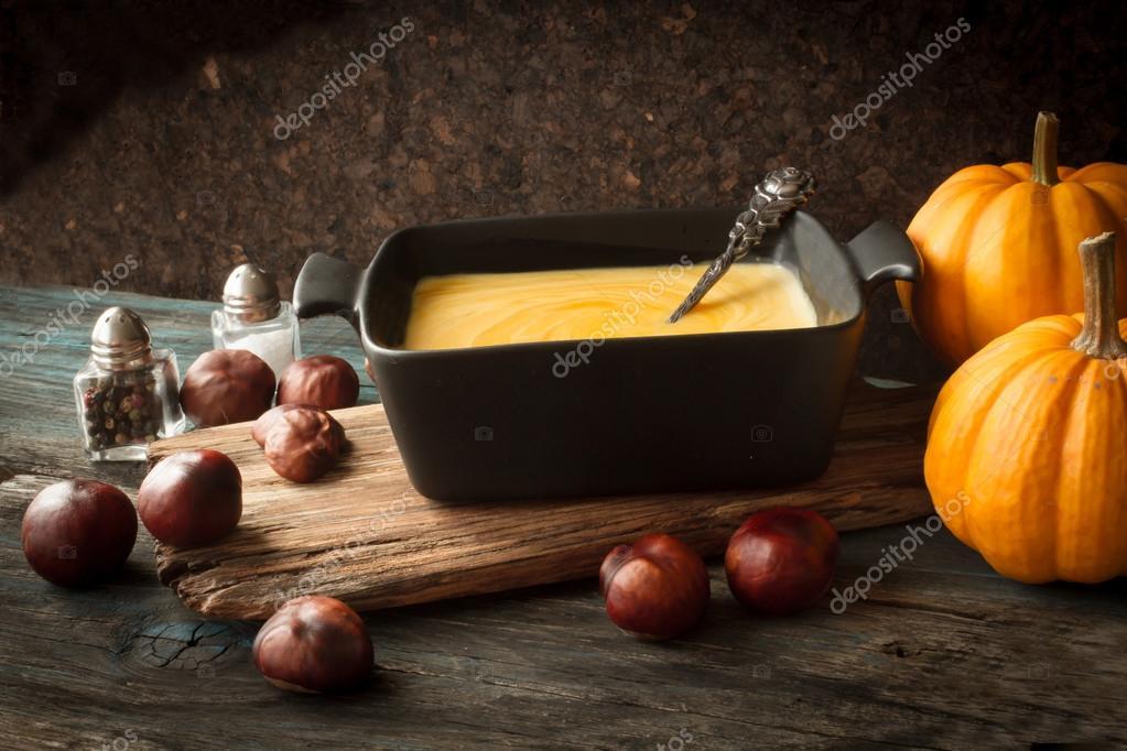 delicious, orange, autumn pumpkin soup. lunch at Halloween
