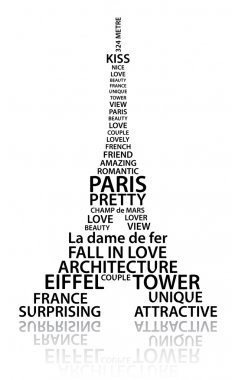 Abstract Eiffel tower made from words