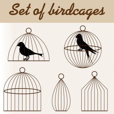 Set of birdcages with birds