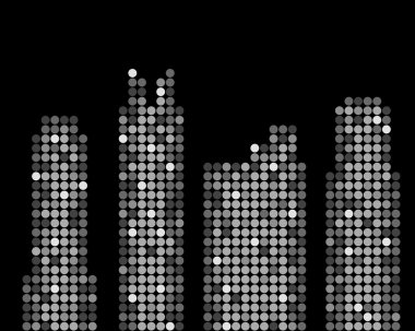Abstract skyscrapers made from lighting dots