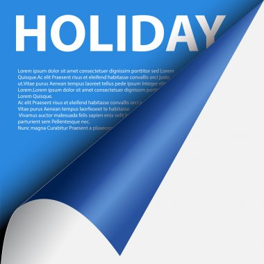 Text holiday under blue curled corner
