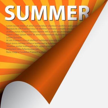 Text summer under curled corner