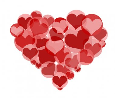 Heart made from many small red hearts clip art vector