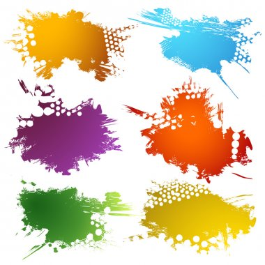 Set of Colorful ink stains clip art vector