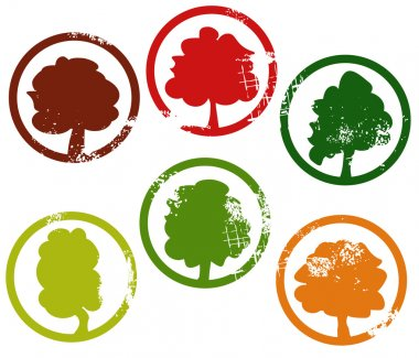 Stamps in shape of trees