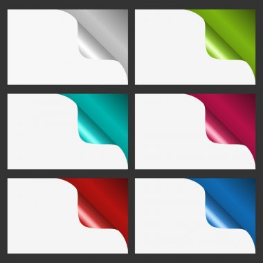 Set of six colorful curled corners