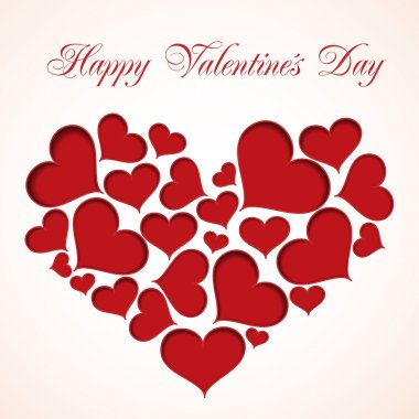 Cute valentine card made from red hearts clip art vector