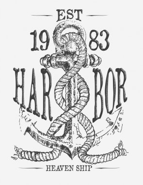 Anchor and rope doodle vector print tees