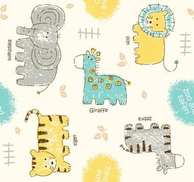 cute animals cartoon or chalk print