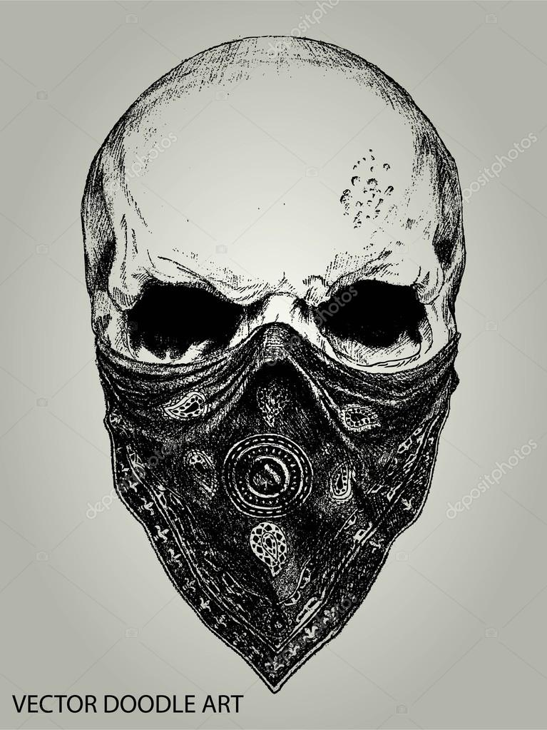 Skull and bandana doodle vector stock vector ixies for Black and white tattoo artists