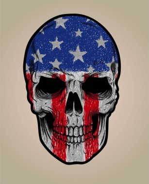 american skull face and grunge flag or texture