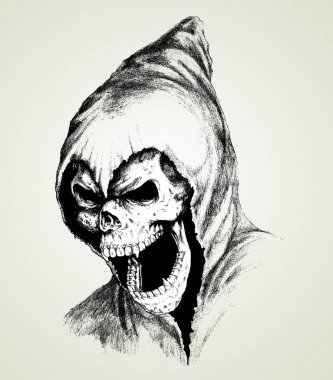 Doodle  skull with old hoodie