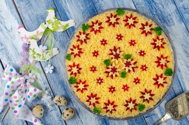 Vegetable salad with spring decoration