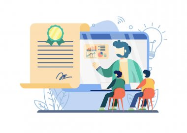 Online courses free E-certificate concept. people watching online course. E-certificate, Web courses or tutorials concept,Webinar, digital classroom. vector illustration for web banners icon